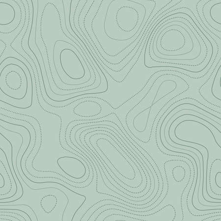 Contour lines. Actual topographic map in green tones, seamless design, shapely tileable pattern. Vector illustration. Stock Illustratie