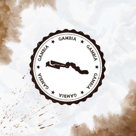 Gambia watercolor round rubber stamp with country map. Sepia Gambia passport stamp with circular text and stars, vector illustration. Banque d'images - 124696630