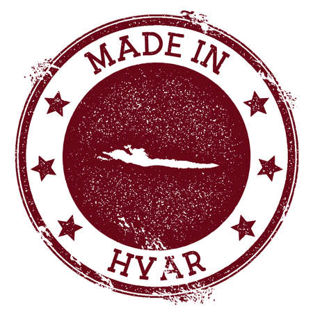 Made in Hvar stamp. Grunge rubber stamp with Made in Hvar text and island map. Rare vector illustration.