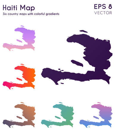 Map of Haiti with beautiful gradients. Adorable set of Haiti maps. Mesmeric vector illustration. Banque d'images - 124696635