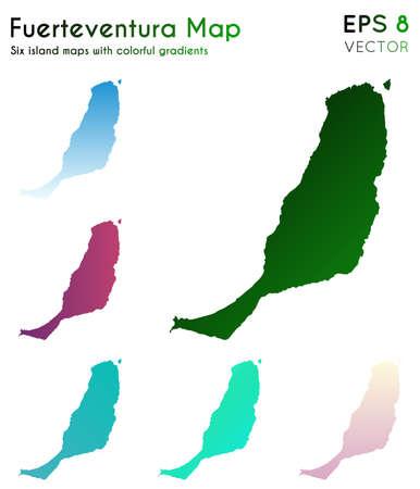 Map of Fuerteventura with beautiful gradients. Appealing set of Fuerteventura maps. Optimal vector illustration. Banque d'images - 124696636