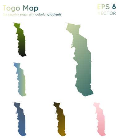 Map of Togo with beautiful gradients. Amazing set of Togo maps. Majestic vector illustration. Illustration