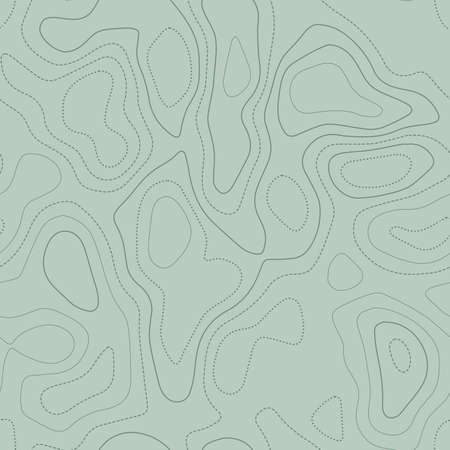 Abstract topography. Actual topographic map in green tones, seamless design, attractive tileable pattern. Vector illustration. Banque d'images - 124696638