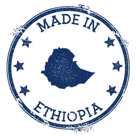 Made in Ethiopia stamp. Grunge rubber stamp with Made in Ethiopia text and country map. Resplendent vector illustration. Banque d'images - 124675648