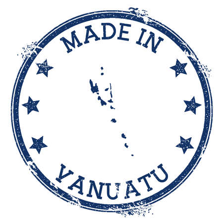 Made in Vanuatu stamp. Grunge rubber stamp with Made in Vanuatu text and country map. Powerful vector illustration.