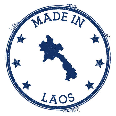 Made in Laos stamp. Grunge rubber stamp with Made in Laos text and country map. Fresh vector illustration. Banque d'images - 124696640