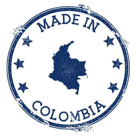 Made in Colombia stamp. Grunge rubber stamp with Made in Colombia text and country map. Likable vector illustration. 일러스트