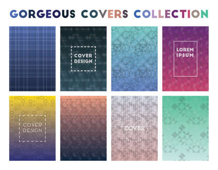 Gorgeous Covers Collection. Admirable geometric patterns. Trending background. Vector illustration. Banque d'images - 124696642