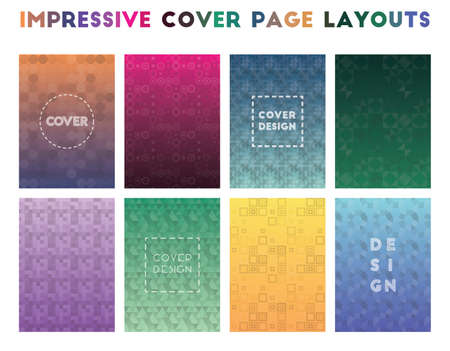 Impressive Cover Page Layouts. Alluring geometric patterns. Gorgeous background. Vector illustration.