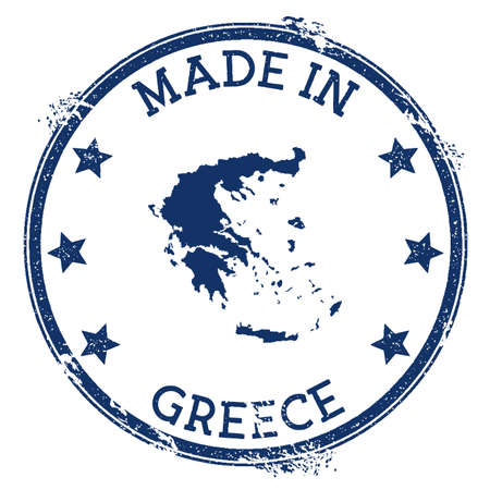 Made in Greece stamp. Grunge rubber stamp with Made in Greece text and country map. Alluring vector illustration. Banque d'images - 124675654