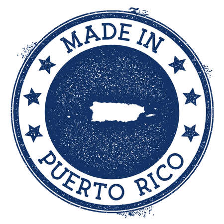 Made in Puerto Rico stamp. Grunge rubber stamp with Made in Puerto Rico text and country map. Amusing vector illustration. Banque d'images - 124675655