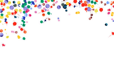 Watercolor confetti on white background. Rainbow colored blobs wide falling rain. Colorful bright hand painted illustration. Happy celebration party background. Stylish vector illustration. Banque d'images - 124675656
