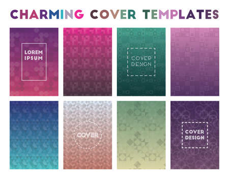 Charming Cover Templates. Adorable geometric patterns. Brilliant background. Vector illustration. Banque d'images - 124675659