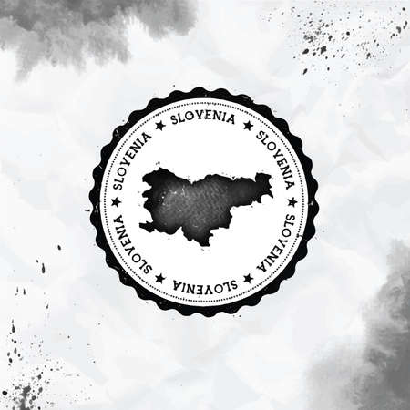 Slovenia watercolor round rubber stamp with country map. Black Slovenia passport stamp with circular text and stars, vector illustration. Banque d'images - 124675661