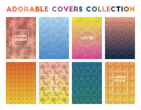 Adorable Covers Collection. Alive geometric patterns. Exotic background. Vector illustration. Иллюстрация