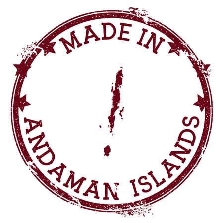 Made in Andaman Islands stamp. Grunge rubber stamp with Made in Andaman Islands text and island map. Astonishing vector illustration. Illustration