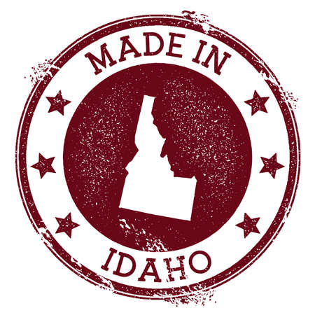 Made in Idaho stamp. Grunge rubber stamp with Made in Idaho text and us state map. Valuable vector illustration. Banque d'images - 124675671