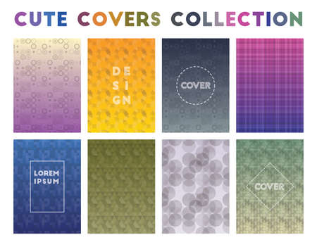 Cute Covers Collection. Alive geometric patterns. Fascinating background. Vector illustration.