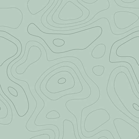 Topographic contours. Actual topographic map in green tones, seamless design, noteworthy tileable pattern. Vector illustration. Illustration