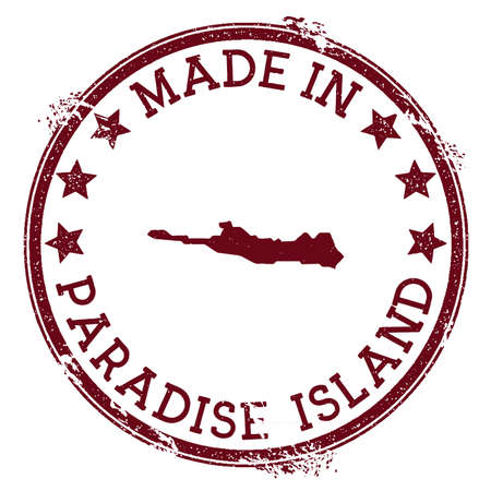 Made in Paradise Island stamp. Grunge rubber stamp with Made in Paradise Island text and island map. Symmetrical vector illustration.