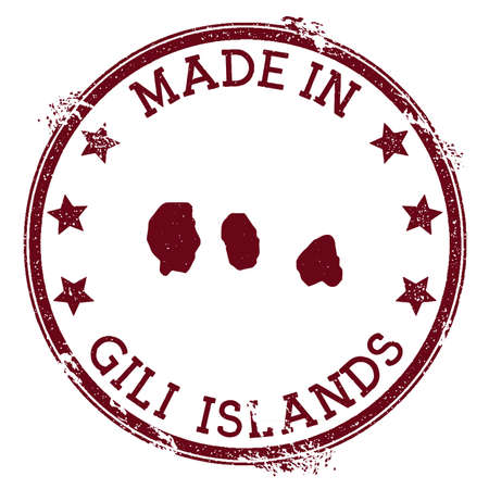Made in Gili Islands stamp. Grunge rubber stamp with Made in Gili Islands text and island map. Magnificent vector illustration. Ilustração