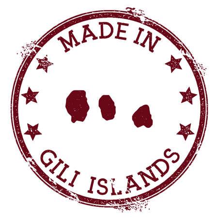 Made in Gili Islands stamp. Grunge rubber stamp with Made in Gili Islands text and island map. Magnificent vector illustration. Illustration