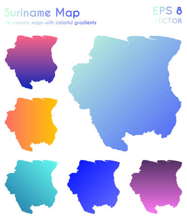Map of Suriname with beautiful gradients. Amazing set of Suriname maps. Exquisite vector illustration. Иллюстрация