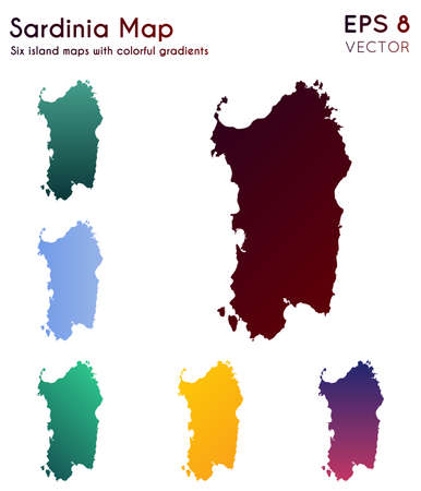 Map of Sardinia with beautiful gradients. Authentic set of Sardinia maps. Remarkable vector illustration.