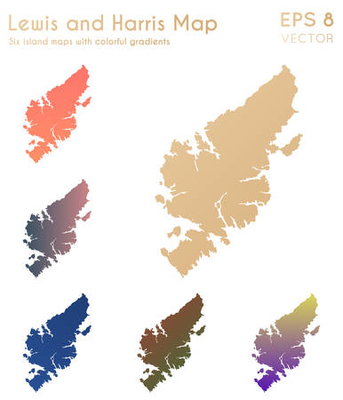 Map of Lewis and Harris with beautiful gradients. Astonishing set of Lewis and Harris maps. Fine vector illustration.
