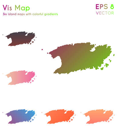 Map of Vis with beautiful gradients. Awesome set of Vis maps. Indelible vector illustration. Illustration