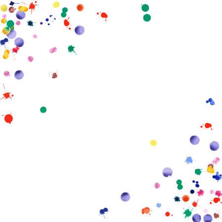Confettis aquarelle sur fond blanc. Coin carré de blobs de couleur arc-en-ciel. Illustration colorée peinte à la main lumineuse. Fond de fête de célébration heureuse. Illustration vectorielle éminente.