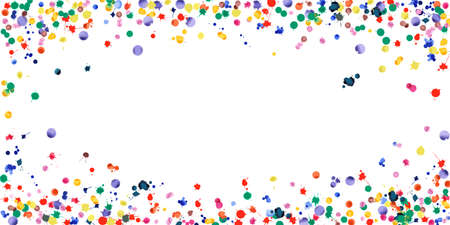 Watercolor confetti on white background. Rainbow colored blobs wide vignette. Colorful bright hand painted illustration. Happy celebration party background. Breathtaking vector illustration.  イラスト・ベクター素材