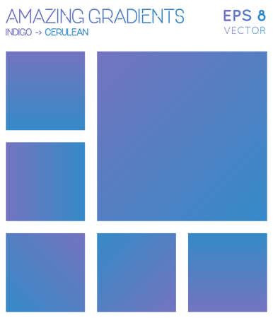 Colorful gradients in indigo, cerulean color tones. Actual gradient background, likable vector illustration.