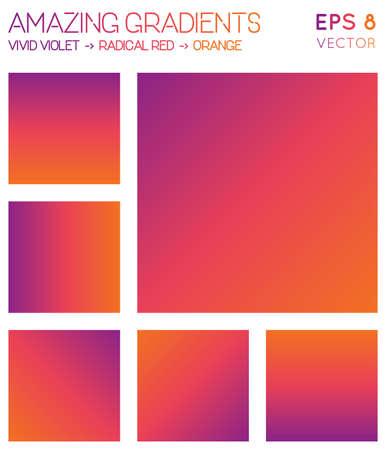 Colorful gradients in vivid violet, radical red, orange color tones. Adorable gradient background, grand vector illustration.