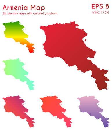 Map of Armenia with beautiful gradients. Actual set of Armenia maps. Gorgeous vector illustration.