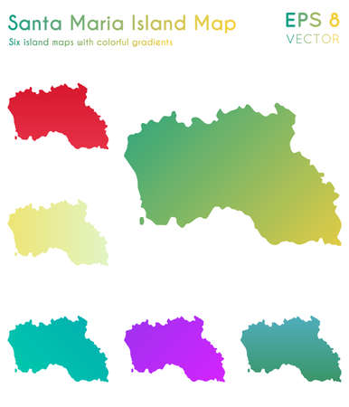 Map of Santa Maria Island with beautiful gradients. Authentic set of Santa Maria Island maps. Mind-blowing vector illustration.