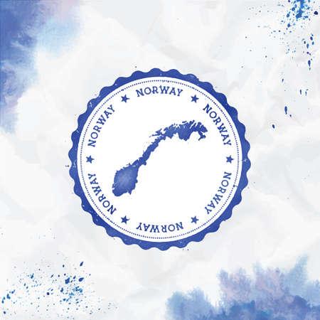 Norwegen Aquarell runder Stempel mit Landkarte. Blauer norwegischer Passstempel mit kreisförmigem Text und Sternen, Vektorillustration.