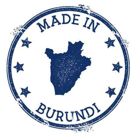 Made in Burundi stamp. Grunge rubber stamp with Made in Burundi text and country map. Classy vector illustration.