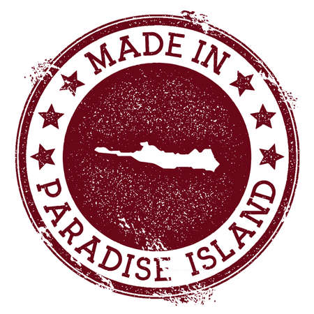 Made in Paradise Island stamp. Grunge rubber stamp with Made in Paradise Island text and island map. Surprising vector illustration. Ilustrace