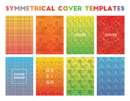 Symmetrical Cover Templates. Actual geometric patterns. Delightful background. Vector illustration.