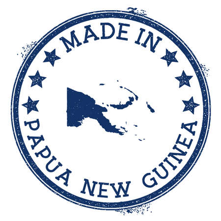 Made in Papua New Guinea stamp. Grunge rubber stamp with Made in Papua New Guinea text and country map. Alive vector illustration.