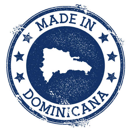 Made in Dominicana stamp. Grunge rubber stamp with Made in Dominicana text and country map. Overwhelming vector illustration. Stock Illustratie