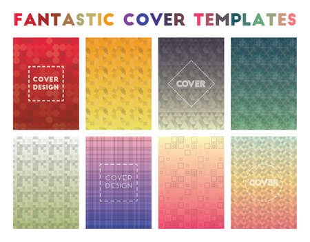 Fantastic Cover Templates. Actual geometric patterns. Posh background. Vector illustration.