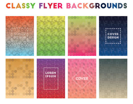 Classy Flyer Backgrounds. Alluring geometric patterns. Incredible background. Vector illustration. Ilustração