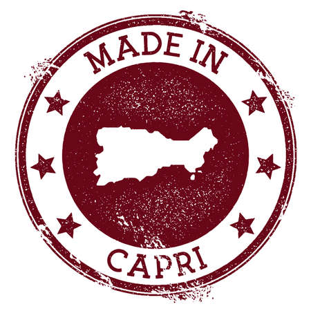 Made in Capri stamp. Grunge rubber stamp with Made in Capri text and island map. Emotional vector illustration.