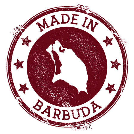 Made in Barbuda stamp. Grunge rubber stamp with Made in Barbuda text and island map. Bizarre vector illustration.