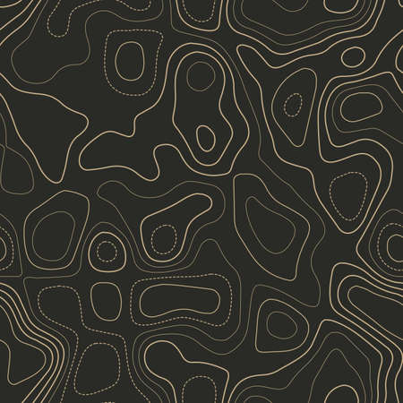 Terrain topography. Actual topography map. Seamless design. Beauteous tileable isolines pattern, vector illustration. Vektoros illusztráció