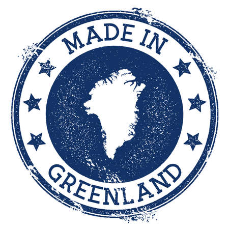 Made in Greenland stamp. Grunge rubber stamp with Made in Greenland text and country map. Amazing vector illustration.