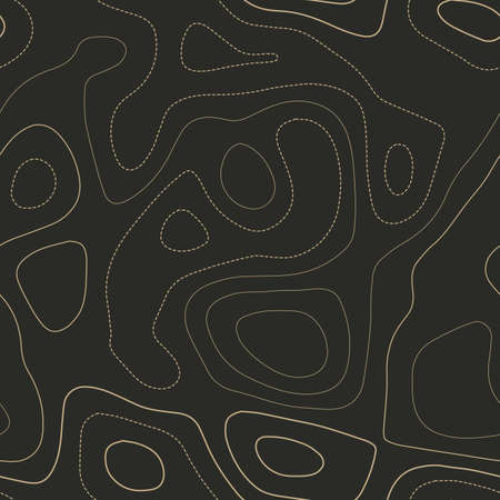 Topographic contours. Actual topography map. Seamless design. Indelible tileable isolines pattern, vector illustration.