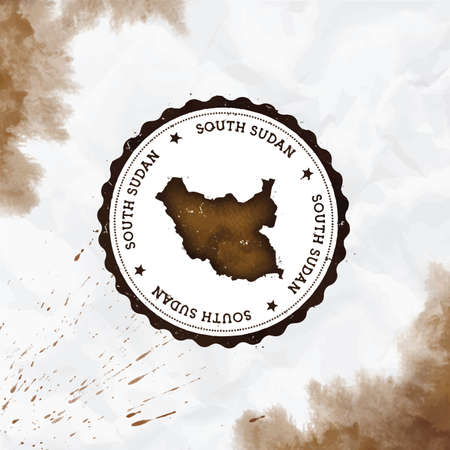 South Sudan watercolor round rubber stamp with country map. Sepia South Sudan passport stamp with circular text and stars, vector illustration.